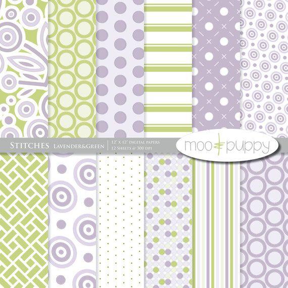 Stitches Lavender & Green Digital Scrapbook Paper Pack