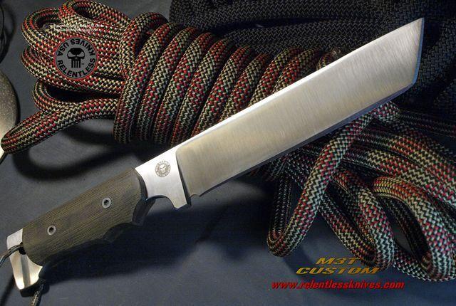 Relentless Knives M3T Custom Military Survival knife. Flat Grind per customer request