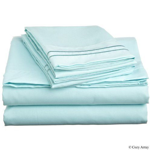 """400 Thread Count Egyptian Cotton Solid Blue Queen Bed Skirt by Scala. $32.99. 1 Bed Skirt. Set Includes: 1 Full/Queen Size Bed Skirt 60"""" X 80"""" with 15"""" drop, Tailored style, split corners, Material: 100% Egyptian cotton,Sateen finish Bed Skirt, Single-ply, Care instructions: Machine washable."""