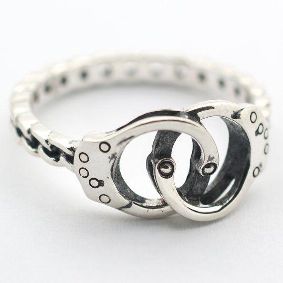Handcuff Ring in Sterling Silver - Handcuff Jewelry Bondage Jewelry Police Jewelry Wife Girlfriend 50 Shades of Grey