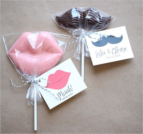"adorable favors  ""Mwah XOXO goodnight and sleep tight!""   and ""We Mustache you something...did you have a good time? we sure hope so!"""