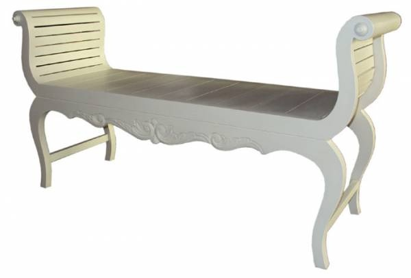 Bed end Bench 125 x 66 x 40 White Wash F1773 R