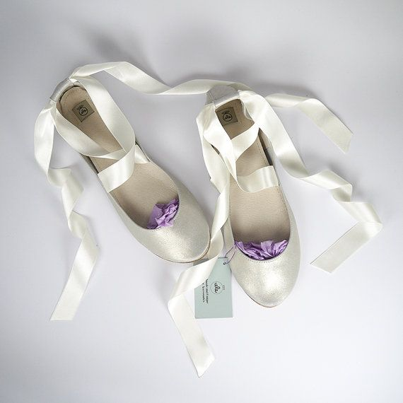 Champagne Leather Bridal Handmade Ballet Flats with by elehandmade, $120.00