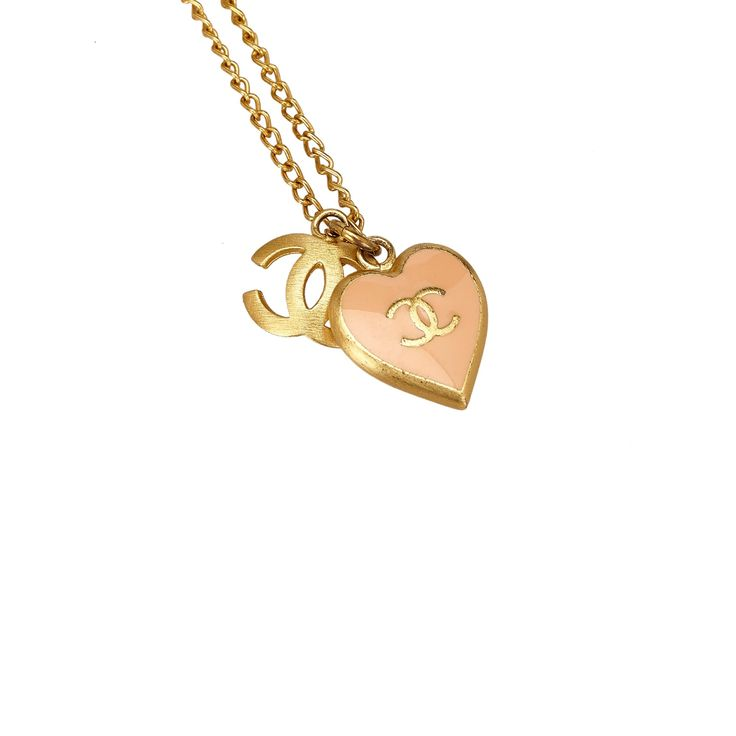 CHANEL PINK ENAMEL HEART AND CC LOGO NECKLACE on Leef luxury authentic designer resale consignment
