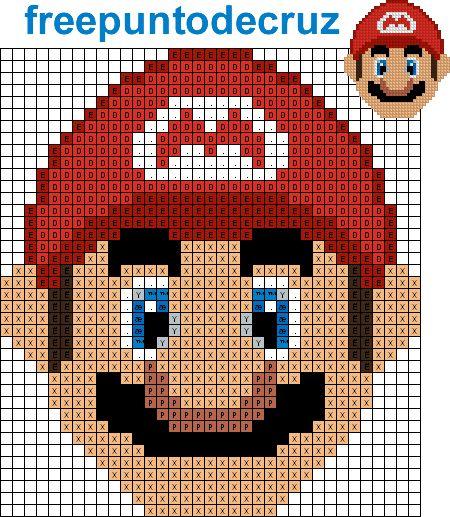Dibujos Punto de Cruz Gratis: Mario Punto de cruz - Cross Stitch                                                                                                                                                     Más