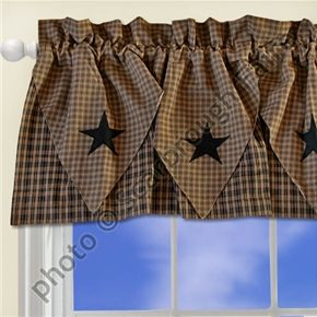 Barn Star Layered Window Valance Primitive Curtain idea. This would go with all my decor for the living room.