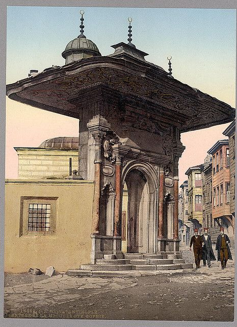 """İstanbul-Entrée de la Mosque Ste. Sophie, Constantinople, Turkey (LOC) via nevin kurtay  """"Preserve, reserve, serve; the life and times of istanbul at the heart of historical center."""" www.armadaistanbul.com www.armadaistanbulculture.com"""