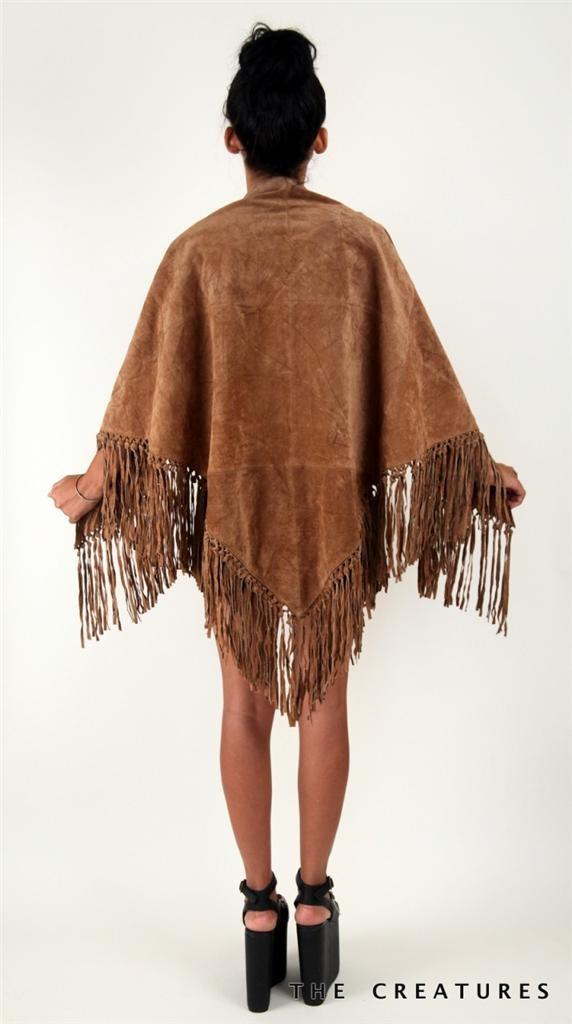 Vtg 70s Fringe Hippy Boho Biker Rocker Leather Festival Poncho Vest MIDI Dress | eBay