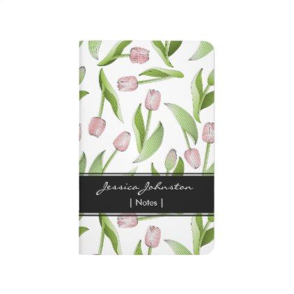 Pink Tulip Floral Patten Modern Chic Personalized Journal - pattern sample design template diy cyo customize
