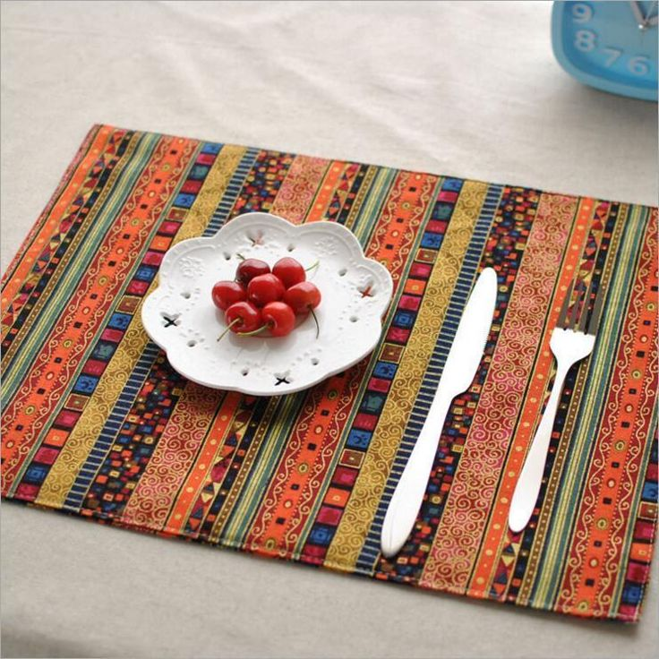 """""""Bohemia B"""" Pack of 2 Beautiful Placemats Rectangular Fabric Dining Table Mats #Unbranded"""