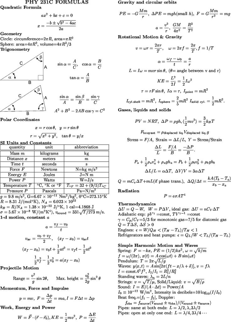 Physics Formula Sheet PHYSICS 231C\/232C Formula Sheets - reference sheet examples