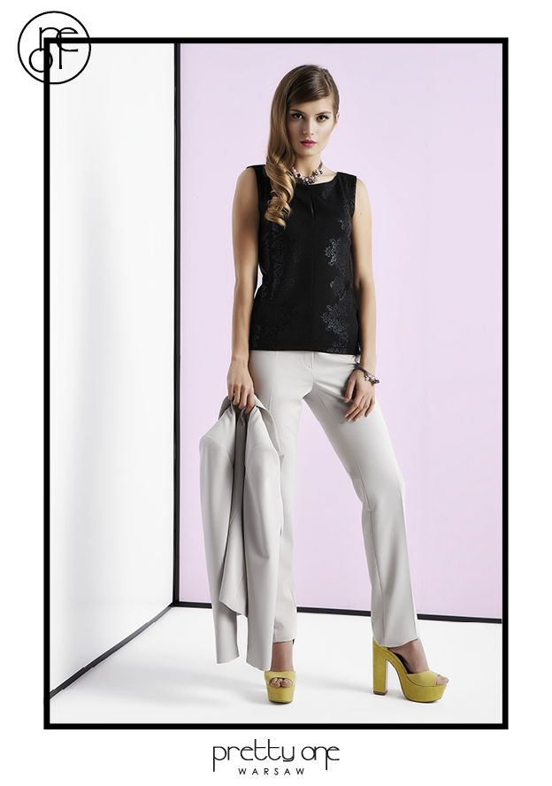 #lookbook #prettyonewarsaw Spring Summer 2015 Szary garnitur, czarny top.