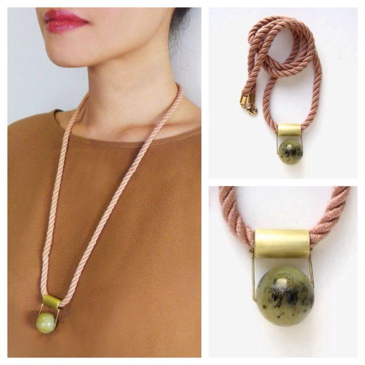 Dusty pink japanese mokuba rope necklace with Jade stone bead