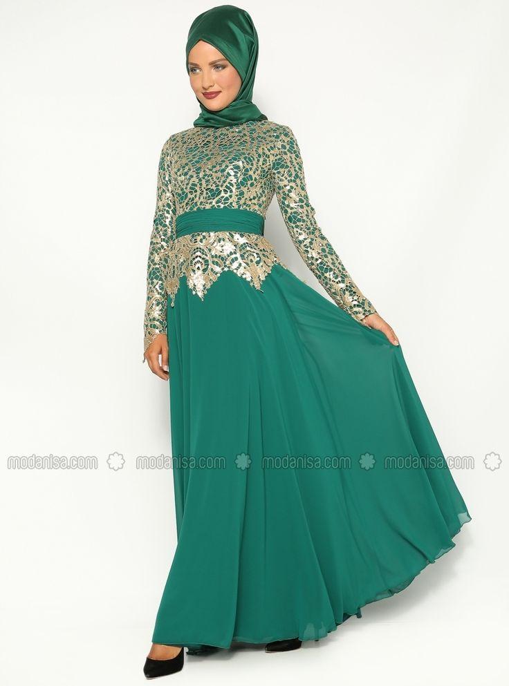 Sequined Evening Dress - Green - Asbella Abiye