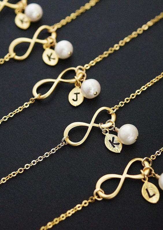 Personalisiertes Armband, Infinity Armband, anfängliche Armband, Edelstein-Armband, Freundschaft Armband, Brautjungfer Geschenke, Weihnachten (B-B-0020)