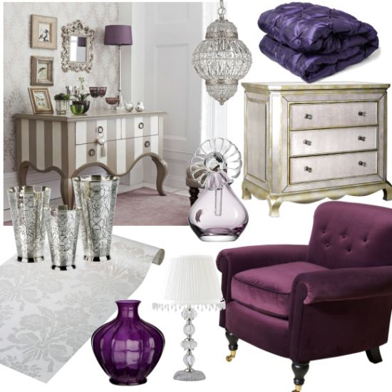 17 best images about bedroom ideas on pinterest silver for Purple and silver bedroom designs