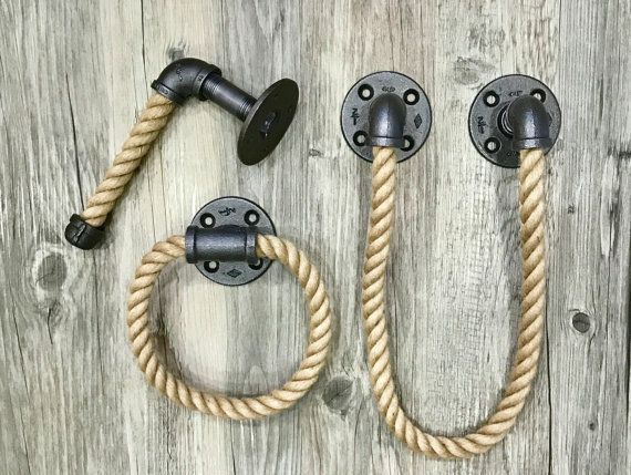 Nautical bathroom set rope lake house bathroom decor by Lulight