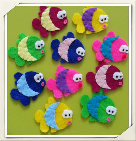 10 pcs of Handmade Felt Fishes ASR005 by craftfactory on Etsy, $10.00