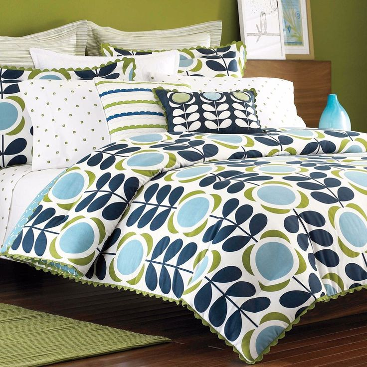 2-Pc Orla Kiely Field of Flowers Twin Comforter Set Girls Room Retro Blue Green in Home, Furniture & DIY, Bedding, Duvets   eBay