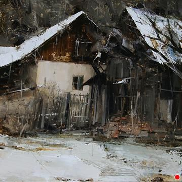 Winter Backyard by Tibor Nagy Oil ~ 13 x 13