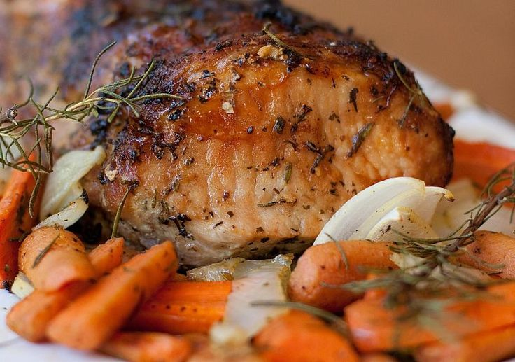 The classic rosemary, garlic and onion dressing for moist Pork Loin Roast - So deliciuos.