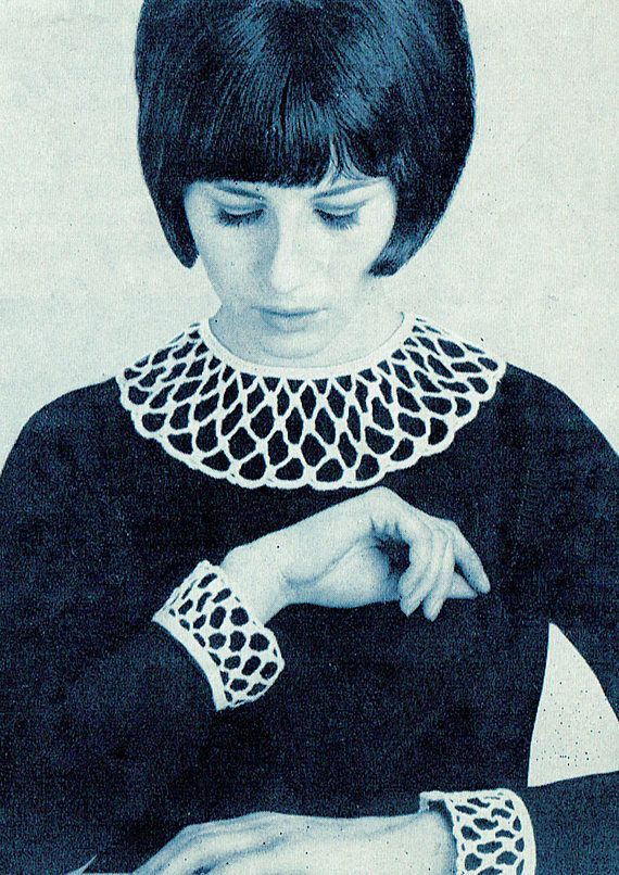 PDF Vintage Womens Ladies Crochet Pattern Collar & Cuffs Irish
