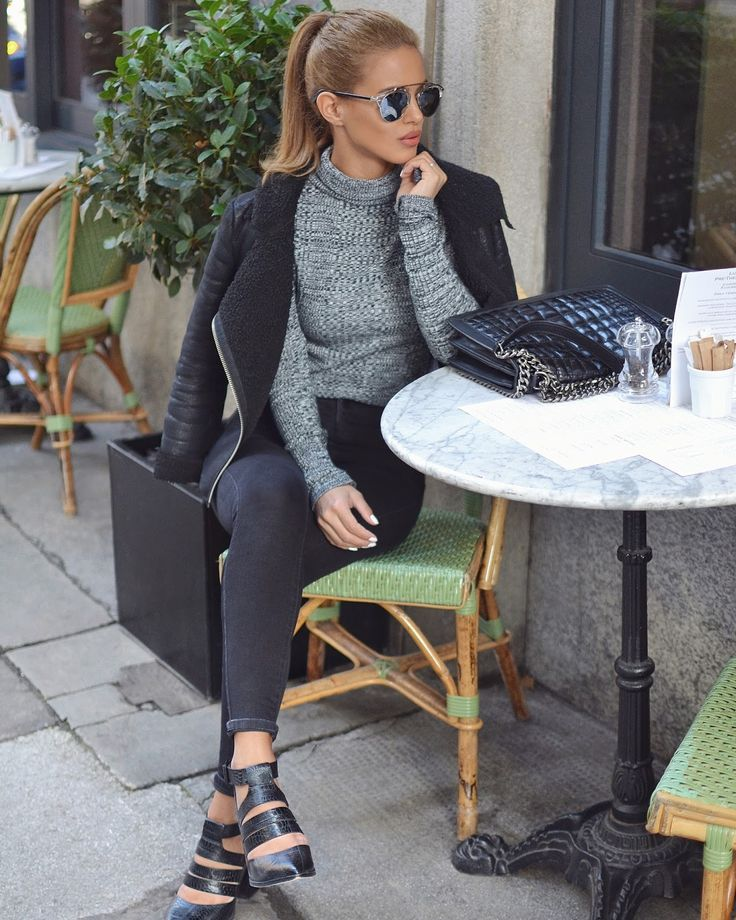 Knitted roll neck jumpers are the way to go this... - Street Style