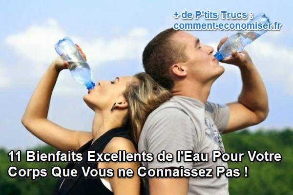 L'eau, plus que n'importe quel autre aliment, est source de bien-être pour notre corps. Ses bienfaits dépassent largement ce que l'on imagine.  Découvrez l'astuce ici : http://www.comment-economiser.fr/bienfait-eau-corps.html?utm_content=buffer183f3&utm_medium=social&utm_source=pinterest.com&utm_campaign=buffer