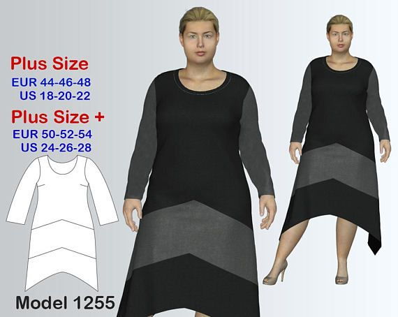 Plus size Dress Sewing Pattern PDF, Women\'s sizes 18-28, Geometric ...