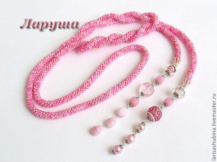 """Купить Лариат """"Розовый леденец"""". - розовый, лариат, лариат из бисера, леденец, розовый цвет, бисер"""
