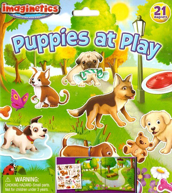"""Take a walk in the dog park with the Puppies at Play Magnetic Play Set from Imaginetics! This set features a path, trees, grass and a pond on a convenient 14.5"""" x 8"""" playboard, just waiting for kids to decorate with the cutest puppies around. These 21 sturdy magnet pieces are easy for small hands to hold, so kids can create a sunny day adventure in a snap. #puppiesatplay #sunnyday #magnets #imaginetics"""