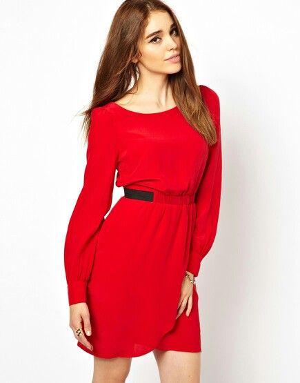 Vestido rojo con cintura grapeada - asos