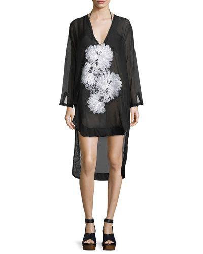 LILA.EUGENIE SCOOP-NECK LONG-SLEEVE SEMISHEER SHIRTDRESS WITH LACE. #lila.eugenie #cloth #