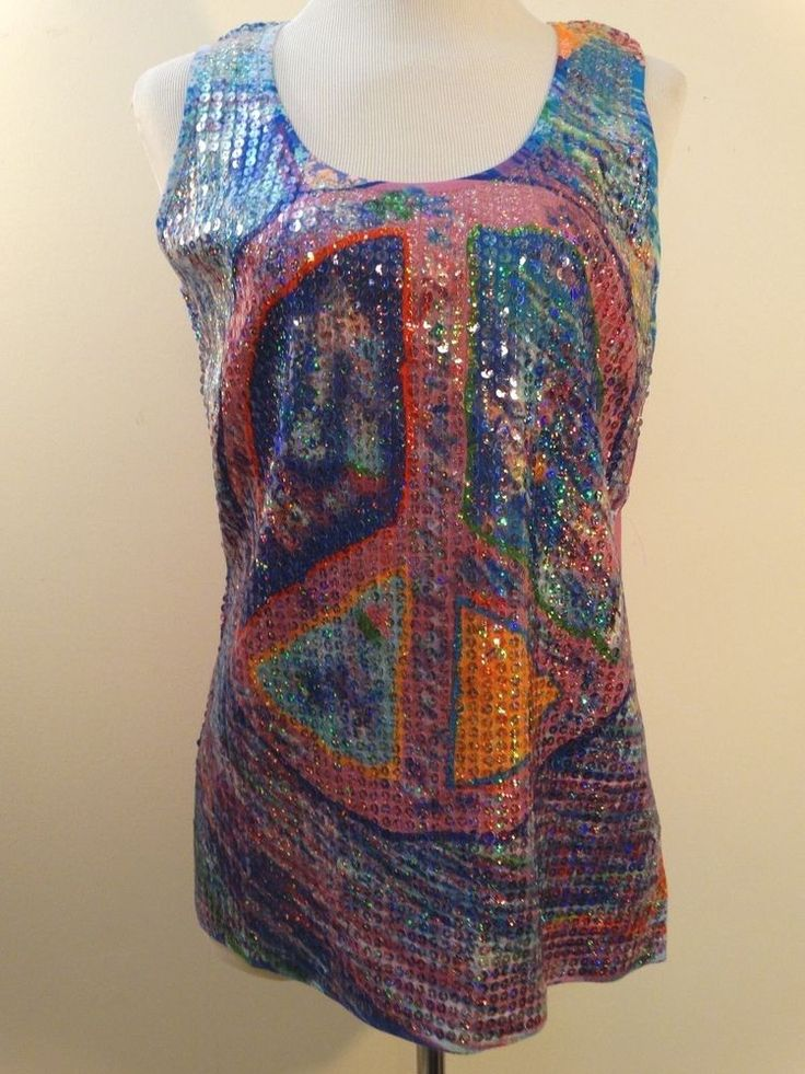 Bella Carra By Biz Tank Top Sequined Front  Peace Sign Design Size Medium #Bella #TankCami #Clubwear