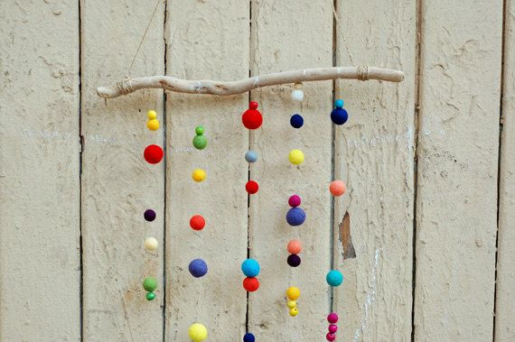 Felt Balls Mobile with Driftwood Baby Mobile by WoollyLoolly