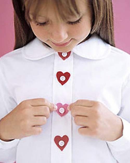 No Sew Heart Shaped Button Decorations. One  on a shirt or blouse for the adult individuals to keep it from being too childish