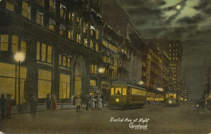 This nighttime view of Euclid Avenue, with the Old Arcade in the foreground and buildings on the north side of the street to East Ninth Street in the distance, is a retouched photograph.  Creator  unknown  Source  J. Mark Souther Postcard Collection  Publisher  Century Post Card Co., Cleveland, Ohio  Date  circa 1913