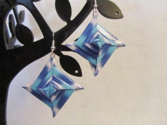 nagy spirál fülbevaló kék papír origami origami