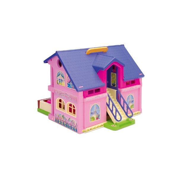 Wader 25400 - Różowy, Dwupiętrowy Domek dla Lalek Wader Play House z akcesoriami dla Dzieci od 3 lat. Zestaw Wader 25400 z umocowaną Rączką do przenoszenia zawiera: kolorowe mebelki, ruchome drzwi, okna, taras z basem, schody
