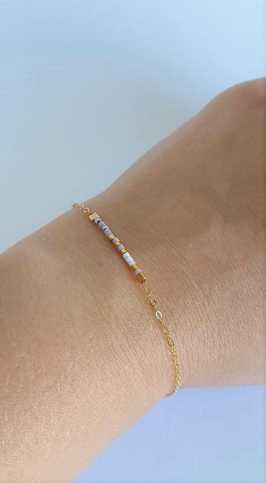 Minimalist Beaded Bracelet // Stacking Bracelets // Purple Pastel // Boho…