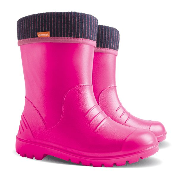#Pink #Demar #wellington #boots, model #dino with soft #cotton inside. Now you can run in the #rain !