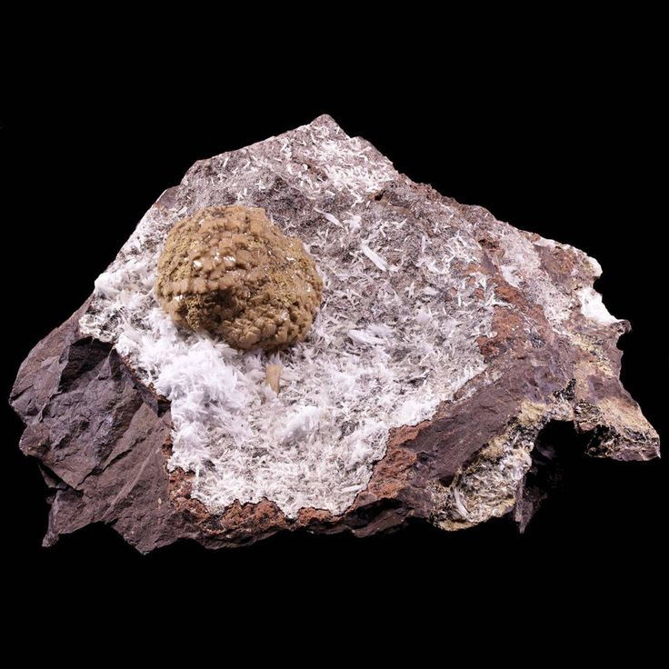Olmiite sphere with Celestine and Bultfonteinite on matrix