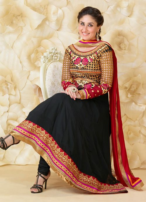 "Impressive Black Georgette Anarkali Suit  Black faux georgette anarkali suit adorned with resham embroidery, teamed up with matching churidar and dupatta. As shown the sleeves can be made available and also can be customized as per your pattern subject to fabric limitation. The kameez can be customized only for bust sizes upto 42""."
