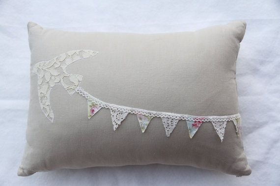 Appliqued Bird, Bunting & Antique French Lace Cushion