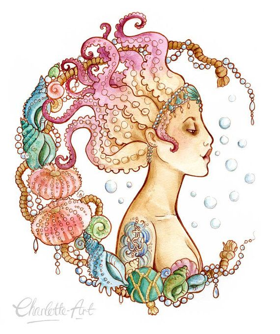 A4 size Art Print  Octopus Mermaid Pin Up by CharlotteThomsonArt