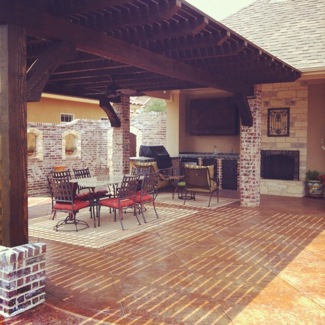 Stained concrete patio extension house ideas pinterest for Patio extension designs