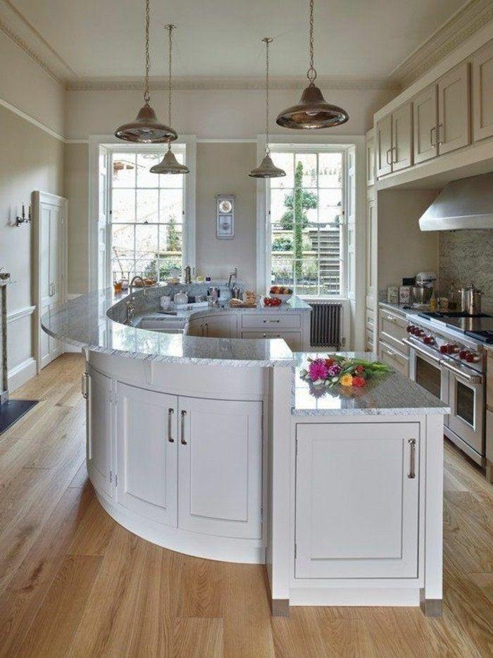 bar de cuisine arrondi, plan de travail arrondi, cuisines darty avec meubles blancs