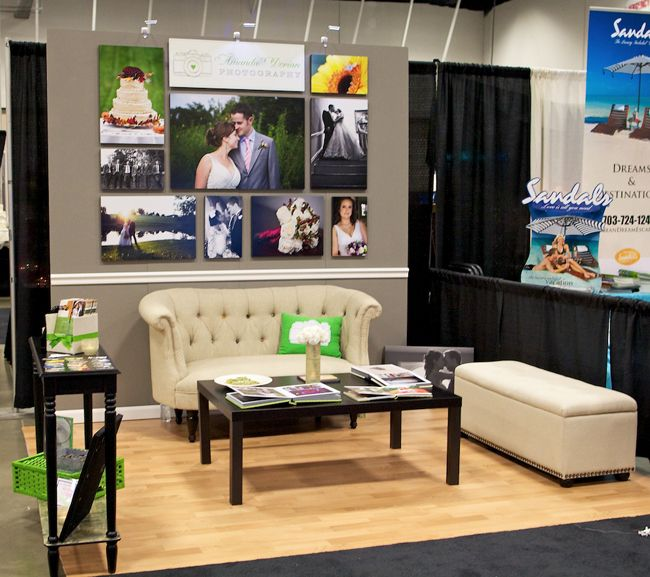 bridal show booth idea i would remove the furniture but i like the chair rail and wood flooring also like the skinny console table