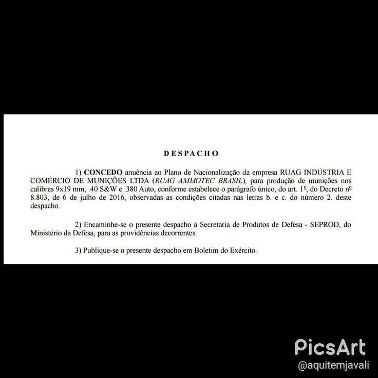 ACABOU O MONOPÓLIO DE MUNIÇÕES NO BRASIL!!! Foi publicado no Boletim do Exército de hoje, a concessão do EB para a empresa RUAG fabricar munição 9mm, .40 S&W e .380 Auto  Assim noticiamos o fim do MONOPÓLIO da CBC!!! Seja bem vinda RUAG e que outras fábricas venham atender no calibre 12 e outros calibres de caça, em terras brasileiras!!!