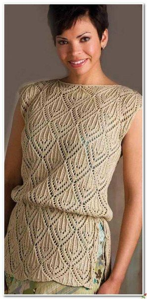 Ажурная туника вязаная спицами This is knit but I like the leaf looking design...